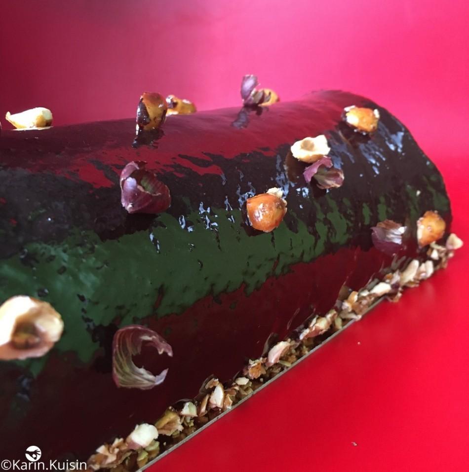 bûche roulé chocolat fruit sec